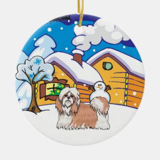 シーズー(犬)のTzuの丸太小屋 セラミックオーナメント