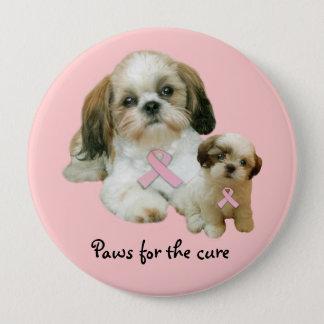 シーズー(犬)のTzuの乳癌ボタン 10.2cm 丸型バッジ