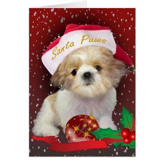 シーズー(犬)のTzuの人形のクリスマスカード カード