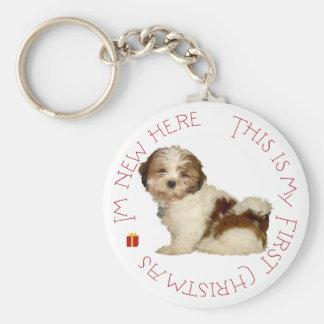 シーズー(犬)のTzuの子犬の初めてのクリスマス キーホルダー
