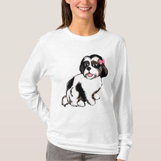 シーズー(犬)のTzuの子犬の女性の長袖のTシャツ Tシャツ