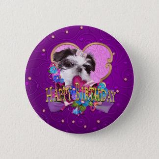 シーズー(犬)のTzuの子犬の紫色のハッピーバースデー 缶バッジ