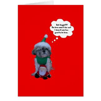 シーズー(犬)のTzuの悪い小犬のクリスマスカード カード