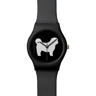 シーズー(犬)のTzuの白いシルエット 腕時計
