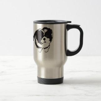 シーズー(犬)のTzuの白黒犬ペット トラベルマグ
