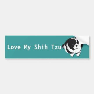 シーズー(犬)のTzuの白黒犬ペット バンパーステッカー