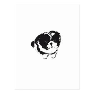 シーズー(犬)のTzuの白黒犬ペット ポストカード
