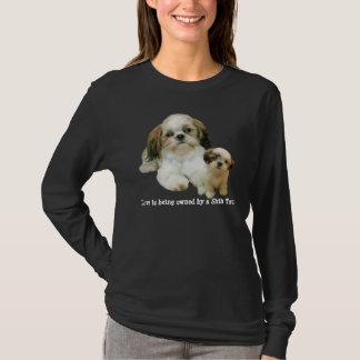 シーズー(犬)のTzuの相棒の女性ワイシャツ Tシャツ
