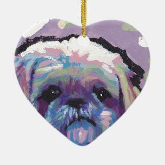 シーズー(犬)のtzuの破裂音犬の芸術 セラミックオーナメント