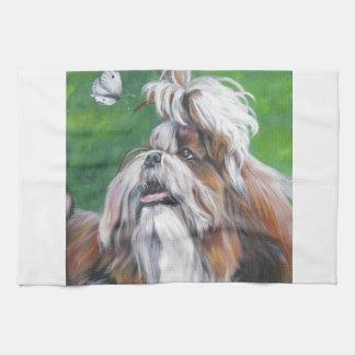 シーズー(犬)のtzuの芸術犬の絵画 キッチンタオル