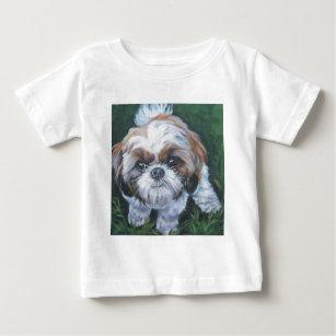 シーズー(犬)のtzuの芸術犬の絵画 ベビーTシャツ