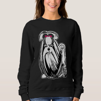 シーズー(犬)のTzuの長い髪の女性のスエットシャツ スウェットシャツ