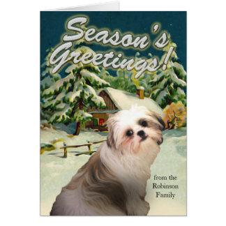 シーズー(犬)のTzuの雪の小屋のクリスマスカード カード