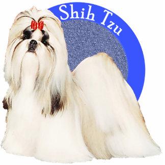 シーズー(犬)のTzuの青い写真Pin 写真彫刻バッジ