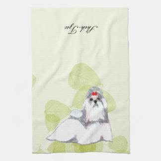 シーズー(犬)のTzuの~の緑の葉のデザイン キッチンタオル