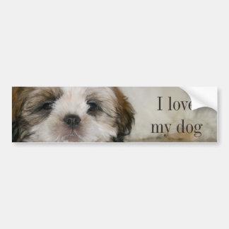 シーズー(犬)のTzuカスタマイズ可能でかわいい犬 バンパーステッカー
