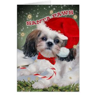 シーズー(犬)のTzuサンタの足のクリスマスカード カード