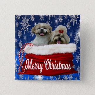 シーズー(犬)のtzuボタンのクリスマス 缶バッジ