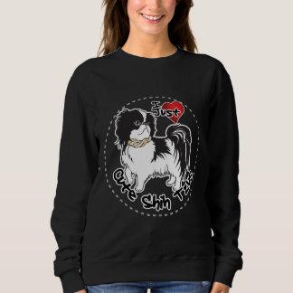 シーズー(犬)のTzu幸せで愛らしくおもしろいで及びかわいい犬 スウェットシャツ