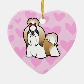シーズー(犬)のTzu愛(あなた自身のメッセージを加えて下さい) セラミックオーナメント
