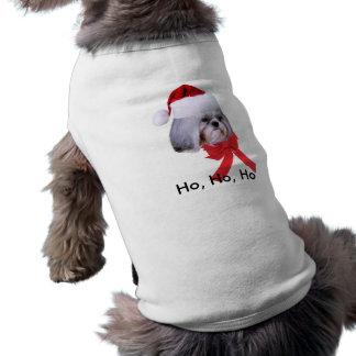 シーズー(犬)のTzu犬が付いているペットクリスマスのワイシャツ ペット服
