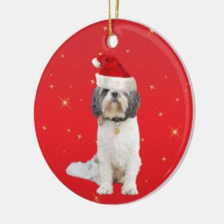 シーズー(犬)のTzu犬のクリスマスの休日の装飾のオーナメント セラミックオーナメント