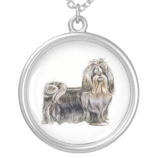 シーズー(犬)のTzu犬のネックレス シルバープレートネックレス