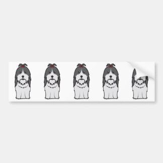 シーズー(犬)のTzu犬の漫画 バンパーステッカー