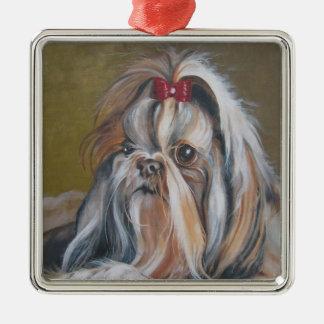 シーズー(犬)のTzu犬の絵画のクリスマスのオーナメント メタルオーナメント