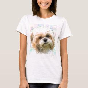 シーズー(犬)のTzu犬水色の芸術の絵画 Tシャツ