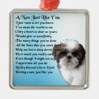 シーズー(犬)のTzu犬-ナンの詩 メタルオーナメント