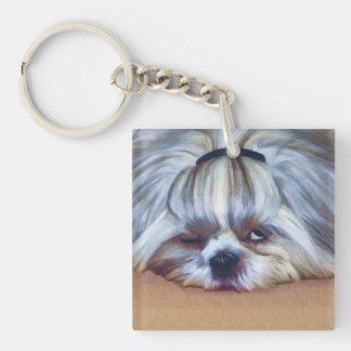 シーズー(犬)のTzu眠い犬 キーホルダー