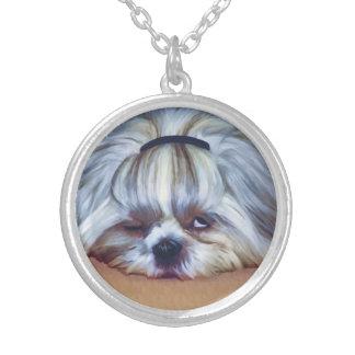 シーズー(犬)のTzu眠い犬 シルバープレートネックレス