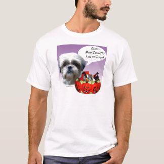 シーズー(犬)のTzu (自然な)ハロウィンキャンデー Tシャツ
