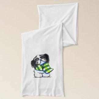 シーズー(犬)のTzu B/wの幸せな冬のスカーフ スカーフ