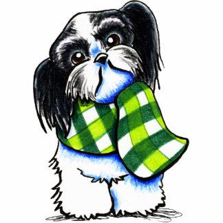 シーズー(犬)のTzu B/wの幸せな冬のスカーフ 写真彫刻マグネット