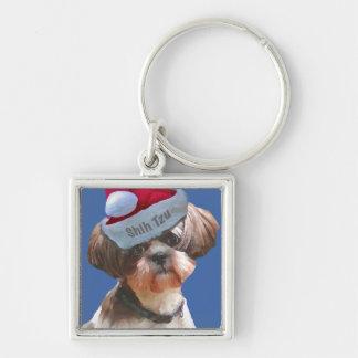 """シーズー(犬)のTzu """"Betsy""""のクリスマスのkeychain シルバーカラー正方形キーホルダー"""