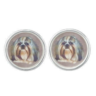 シーズー(犬)のTzu Brindleおよび白い犬 カフブローチ