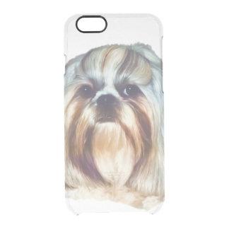 シーズー(犬)のTzu Brindleおよび白い犬 クリアiPhone 6/6Sケース
