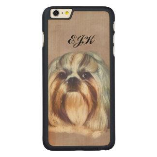 シーズー(犬)のTzu Brindleおよび白い犬、モノグラム CarvedメープルiPhone 6 Plus スリムケース