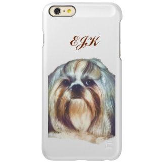 シーズー(犬)のTzu Brindleおよび白い犬、モノグラム Incipio Feather Shine iPhone 6 Plusケース