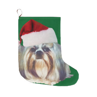 シーズー(犬)のTzu Brindleおよび白い犬 ラージクリスマスストッキング