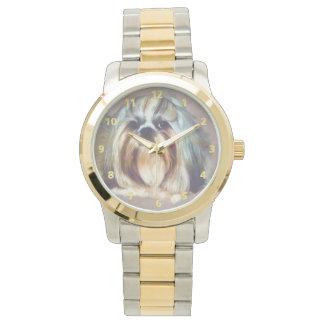 シーズー(犬)のTzu Brindleおよび白い犬 腕時計