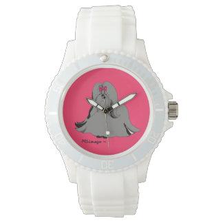 シーズー(犬)のTzu Sondraの白い腕時計 腕時計