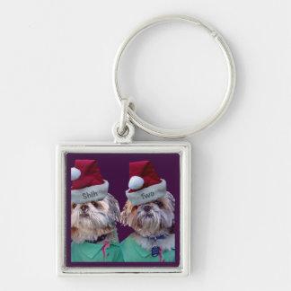 シーズー(犬)のTzuesのシーズー(犬) 2のクリスマスKeychain シルバーカラー正方形キーホルダー