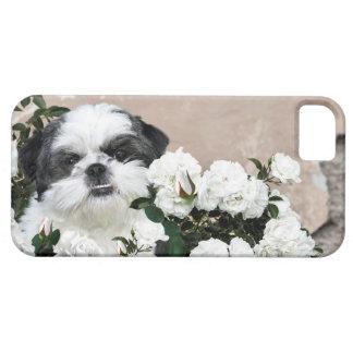シーズー(犬) Tzuおよびバラ iPhone SE/5/5s ケース