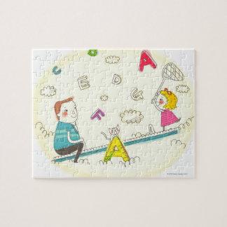 シーソーに坐っている女の子および父 ジグソーパズル