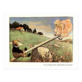 シーソー、Margery Dawの童謡 ポストカード