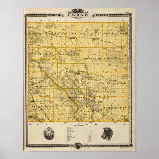 シーダー郡、アイオワ州の地図 ポスター