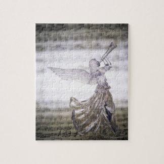 シートのトランペットそしてイメージを遊ぶガラス天使 ジグソーパズル